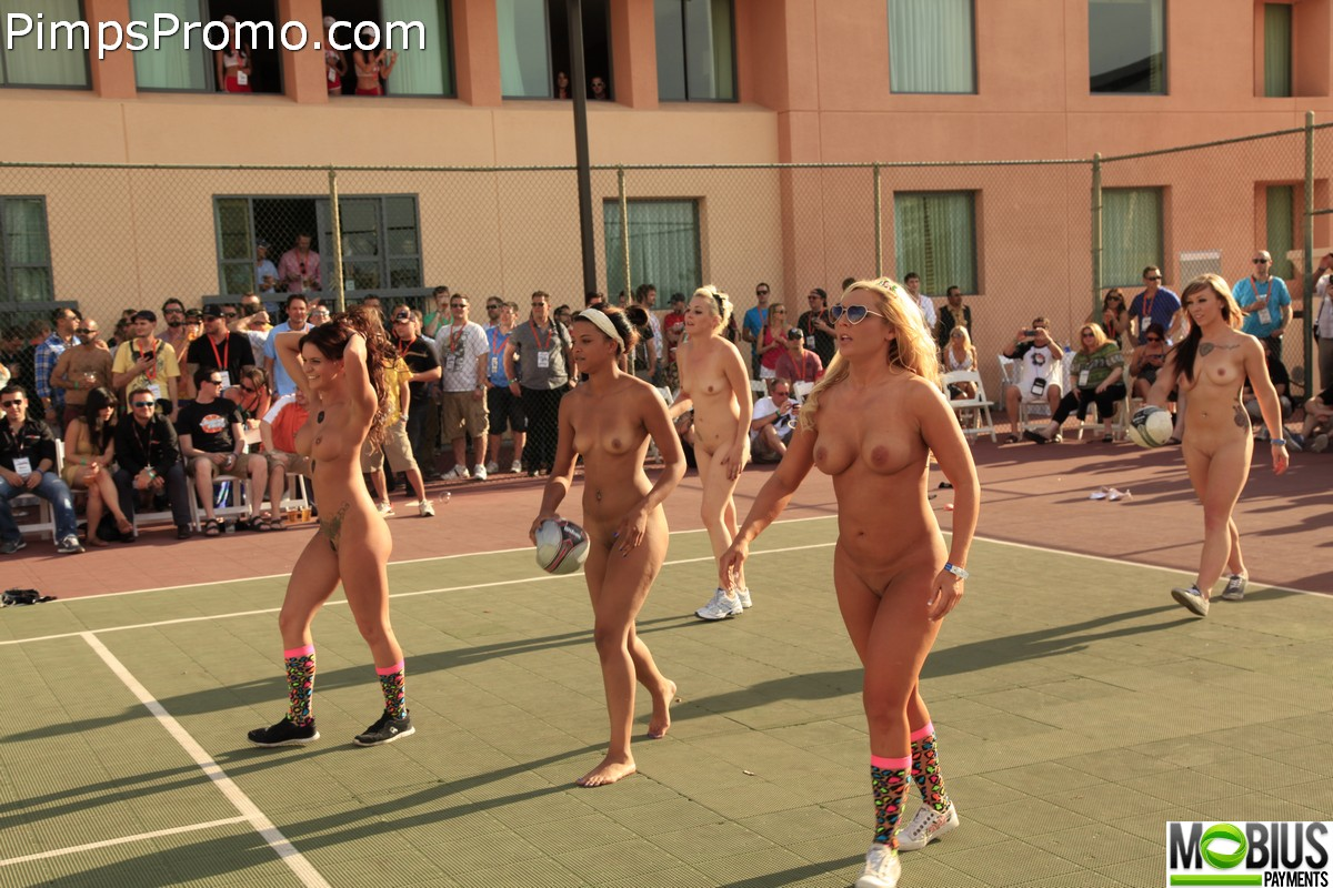 Naked dodgeball, erect man naked in thong